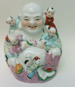 Vintage Chinese Porcelain Buddha Figure with Children