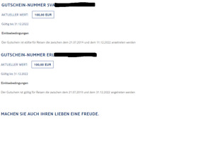 TUI Gutscheine im Wert von 200€ (2 * 100€)