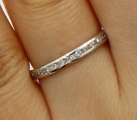 14K White Gold Round channel set Eternity Endless Anniversary Wedding Ring Band