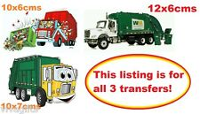 3 x Garbage Truck Iron On Transfers - kids craft t-shirt embellishment
