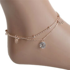 Pretty Gold Plated Anklets Flower Carving Hollow Ankle Bracelet Foot Chain Sp