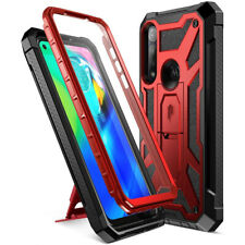 For Moto G Power Case,Dual-Layer Protective Cover w/Leather Texture Metallic Red