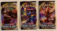 3 Pokemon TCG Card Packs: Three Rebel Clash (2020) Sealed Booster Packs