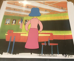 The Simpsons cel - HUGE CEL RARE Elizabeth Hoover Blue Hair School Teacher RARE