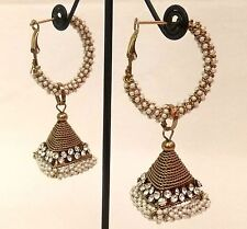 Fashion Earrings Copper Plated Pearl Indian Triangular Design Earring Jewelry