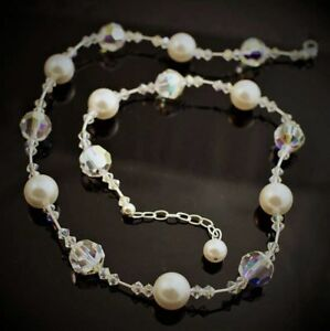 Pearl Necklace made w/ Swarovski Crystal Elements. 12mm Crystals, Pearls, Silver