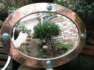 Large Copper Mirror 1900c Arts & Crafts. Four Kingfisher Blue / Green  Ruskin's