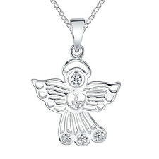 "925 Sterling Silver Guardian Angel Charm Pendant Necklace, Includes 18"" chain"