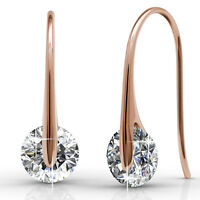 GENUINE CRYSTALS BY SWAROVSKI Hook Drop Earrings 18KRGP Krystal Couture KCE809RG