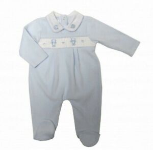 Baby boys Spanish romany traditional style smocked velour all in one romper