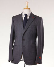 NWT $3695 ISAIA Charcoal Chalkstripe Flannel Wool Suit Slim 38 R + Hanger/Pin