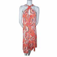 Banana Republic Orange and Black Paisley Pattern Keyhole Neck Dress Size Large