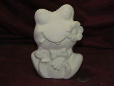 Ceramic Bisque Frog with a flower and tongue stuck out U paint Ready to Paint