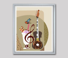 Art Music Instrument Guitar Keyboard Piano Sundae Abstract Pop Poster Painting