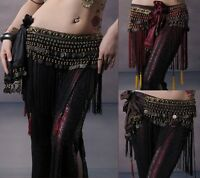 【PLUS SIZE】Belly Dance Hip Scarf Tribal Fringe Tassel Belt&Samba Copper Costume