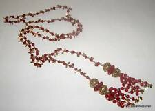 Antique Art Deco Red Czech Glass with Gold Plate Dangles Lariat Sautoir Necklace