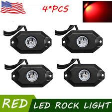 "4X 2"" 9W RED CREE LED Rock Light Off-Road Underglow Foot Wheel Well Light Truck"