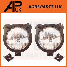 David Brown Headlight & Rubber Cowl Pair Tractor Head Light Lamp Mount Mounting