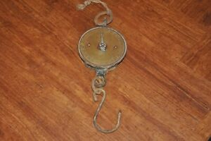 Salter Spring Balance, Hanging Scales, 50lb Brass and Iron