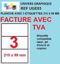 500 planches de 3 étiquettes 210 x 99 mm soit 1500 etiquettes ref   UGE03