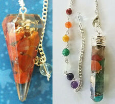 Crystal, Chakra Stone, With 2 Pouches 2 Large Dowsing Pendulums, Red Jasper