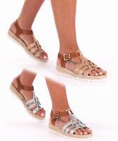 New Women's Ladies Glitter Espadrilles Summer Sandals Flat Ankle Strap Shoes