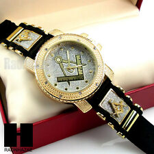 HIP HOP NEW ICED OUT BULLET BAND MASONIC FREEMASON BLAST GOLD CASE WATCH GW195G