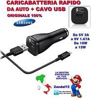 CARICA BATTERIA RAPIDO ORIGINALE DA AUTO + CAVO USB GALAXY S6 S7 NOTE 5 VELOCE