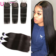 UNice Brazilian Straight Human Hair Extensions 3 Bundles With Lace Closure 8A US