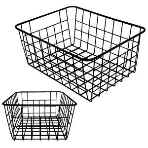 Vlish 2 Black Wire Baskets - Black 2 Pack Wire Basket Set | Storage | Decor |...