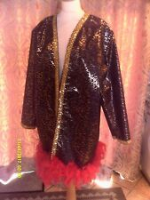 Drag Queen/Cabaret SHORT Black/Gold coat with Red feathers 18/20