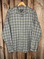 Eddie Bauer Men's XL Gray Plaid Flannel Look Button Up Long Sleeve Shirt