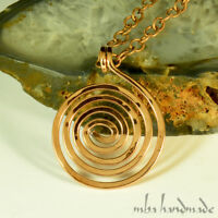 Pure Copper Wire Wrapped Unisex Spiral Pendant Artisan Hammered Necklace