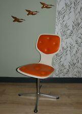 70er Stuhl Design pop art Drehstuhl Chrom Fuß weiß/ORANGE panton retro Büro