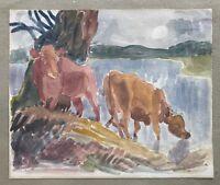 Aquarell Landschaft mit Kühen am See unbek. Impressionist 25,5 x 22