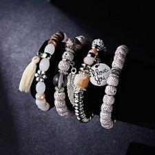 4Pcs I Love You Multilayer Natural Stone Crystal Bangle Beaded Tassel Bracelet