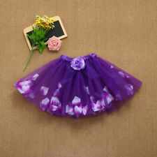Cute High Quality Baby Girls Kids Floral Tutu Ballet Fancy Party Purple Skirts