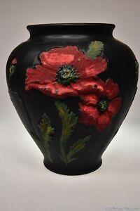 c. 1920s - 30s No. G-16255 POPPY DESIGN BOWL U.S. Glass / Tiffin HP BLACK SATIN