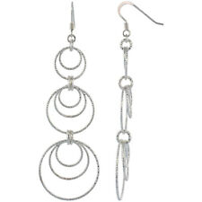Sterling Silver Diamond Cut Tubing Graduated Dangling Circles Earrings