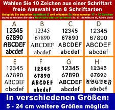 10 Zahlen ver. Schriften selbstklebend 3-24 cm Klebezahl  Aufkleber Hausnummer