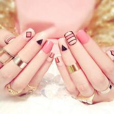 24Pcs Acrylic Designer Fake Nail Tips DIY Pink Full False Nails Art Fingernail