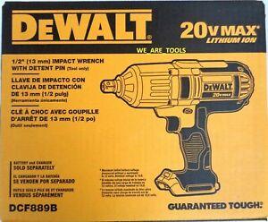 "New In Box Dewalt DCF889B 20V 1/2"" Cordless Impact Wrench Pin Detent 20 Volt Max"