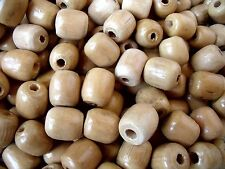 """Lot of 100 Natural Wooden Barrel Beads 5/8"""" For Macrame, Jewelry, Crafts"""
