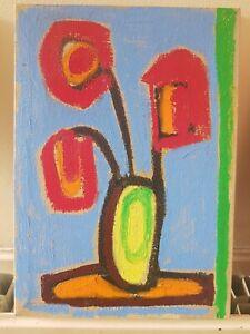 Small Oil Painting Flowers Red Orange Poppy Modern Art Canvas Expressive L ALLEN
