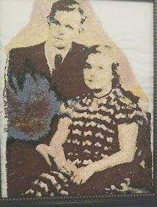 Hand Sewn Needle Point Fabric Portrait Of Mid Century Couple Textile Art