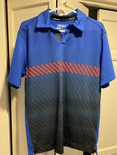 Men's Nike Golf Tour Performance Dri-Fit Blue Patterned Polo Shirt Size Small S