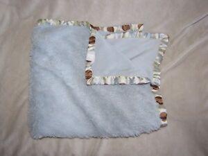 BLANKETS & AND BEYOND BLUE GREEN BROWN WHITE CREAM POLKA DOT CIRCLE SATIN BOY