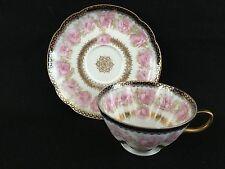 Haviland Limoges Presidential Drop Pink Rose Porcelain Cup & Saucer Gold Trim