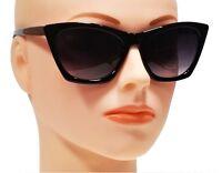 WOMEN CAT EYE SUNGLASSES RETRO STYLE SUNNIES FASHION CLEAN CUT BLACK FRAME