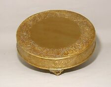 "Antique Gold Finish Embossed Cake Stand Plateau 18"" Round (New)"